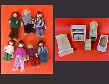 Melissa And Doug Style - Wooden Doll House People Family w/ Furniture Lot