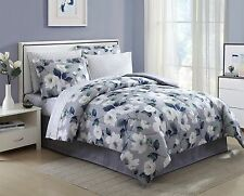 Queen Size Blue and Gray Comforter and Sheet Set Floral 8 pc Bedding