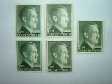 1942 GERMANY 1rm BOTTLE GREEN A.H. STAMPS x 5 PERF.12.5/14 (sg799/a) MH CV £10