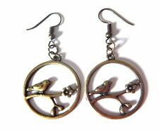 HYPOALLERGENIC BRONZE BIRD EARRINGS french hook sparrow branch blossom flower M4