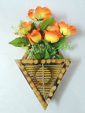 Bamboo wooden wall hanging flower vase, letter, mobile phone holder