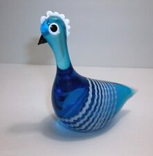 Vintage MURANO Latticino Art Glass ROOSTER BLUE White RARE