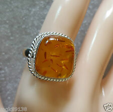 Antique Pressed Amber sz 7  Sterling Silver Handcrafted Ring