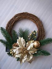luxury 40cm Gold Glitter Poinsettia Rattan Rustic Christmas Wreath Apples  Acorn