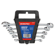 WORKPRO 5PC Combination Wrench Set Open Ring Metric Cr-V Long 6 8 10 12 15mm New