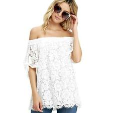 Fashion Women Lace Off Shoulder Casual Shirt Summer Tops Blouse T-Shirt