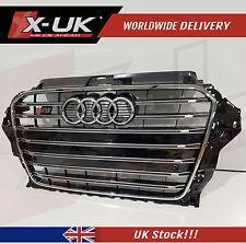 S3 FRONT GRILL GLOSS BLACK WITH ALUMINIUM SILVER EDGE FOR AUDI A3 8V 2012-2015