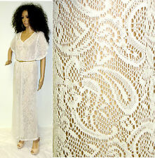 VTG 70'S 80'S BOHO HIPPIE GYPSY SHEER LACE WEDDING PARTY BEACH MAXI DRESS S