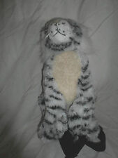 "12"" BJ Toys Rare White Tiger Zippered Backpack Plush Soft Toy Stuffed Animal"