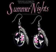 SUMMER NIGHTS WILD ROSE HUMMINGBIRD EARRINGS - WESTERN ART JEWELRY FREE SHIP HK*