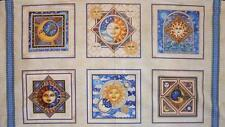 Celestial Sol Cream Moon Sun Stars Dan Morris Quilting Treasures Fabric Panel