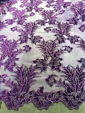 "LILAC MASH W/PURPLE VELVET  EMBROIDERY SEQUINS FABRIC 50"" WIDE 1 YARD"
