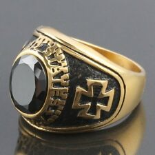Men's Black Czech Army Military Cross Crucifix Stainless Steel Finger Ring US 8