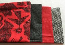 Red & Black Coordinating Fabric Quilting Lot 4.5 Yds 100% Cotton 4 Prints