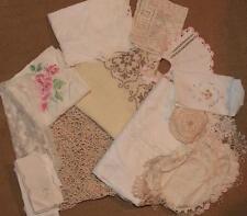 Vintage Mixed Lot 35 pc linen crochet ecru doilies tablecloths battenburg lace