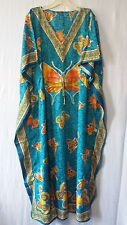 Women's dashiki Kaftan Caftan Dress Hippie Boho Maxi Beach Gown T Blue Plus size
