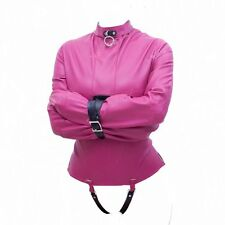 New design PINK leather straight jackets, goth, fetish, sissy, corset