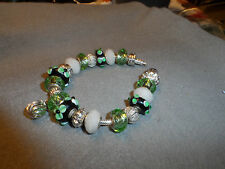 Authentic Pandora bracelet with St.Patrick's Day Green sparkle Themed beads