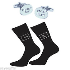 Paire de Trust Me I'm A Pilot chaussettes & Trust Me I'm A Pilot Boutons de manchette