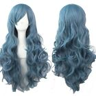 fashion Women Wig curly wavy hair full long wigs cosplay Harajuku Ash blue wig