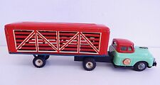 Vintage Live Stock Truck Friction Toy Tin Litho in Good Working Condition Japan
