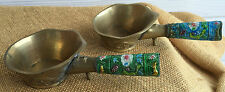 Vintage Hand Painted Brass Silk Irons with Dragons & Enameled Handles