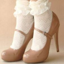 Ladies Lace Ruffle Frill Socks Cute Princess Lolita Kawaii Retro - One Size