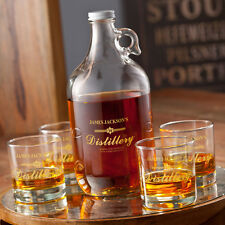 Personalized Whiskey Growler Set, Drinking Jug with Glasses Gift