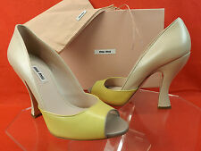 NIB MIU MIU PRADA TWO TONE LEATHER PEEP TOE FLARED CURVED HEEL PUMPS 39 8.5