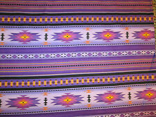 Navajo Indian Purple Teal Border Print Cotton Fabric BTHY