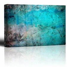 Blue and Splatter Ink Watercolor Paint Background - Canvas Wall Art - 24x36