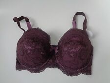 M&S size 30DD mahogany lace front underwire bra with adjustable straps