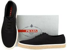 NEW PRADA MEN'S BLACK DRILL ESPADRILLES  SNEAKERS LACE-UP SHOES 9/US 10