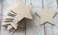 Conjunto de 10 Corte Láser estrellas de madera sin pintar, dos agujeros para Guirnalda Banderines