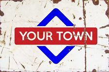 Sign Khartoum Aluminium A4 Train Station Aged Reto Vintage Effect