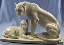 Tiger löwe mit jungem Beyer & Bock porzellanfigur figur Porzellan volkstedt 1931