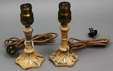 Antique ART NOUVEAU BOUDOIR TABLE LAMPS w/Brass Fittings Dated 1909