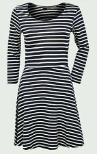 LADIES NAVY AND CREAM STRIPED SKATER SUMMER DRESS  SIZE 12 ... RRP £22 .. BNWOT