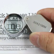 NEW Pocket Folding Eye Glass Magnifier Magnifing Reading Jeweller Loupe +Light