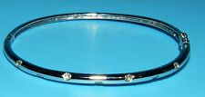 "BEAUTIFUL DAINTY 18K 750 WHITE GOLD & DIAMONDS HINGED BANGLE BRACELET 6"" INSIDE"