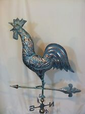 XLARGE Handcrafted 3Dimensional CROWING ROOSTER Weathervane Copper Patina