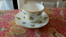 Tea cup and saucer Crown Staffordshire porcelain fine bone china roses pansies