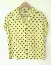 BNWOT RIVER ISLAND LADIES SHIRT TOP CHELSEA GIRL YELLOW HEART PRINT  SIZE 14