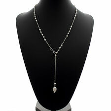 "Pearl Lariat Necklace 9mm Freshwater Pearls Drop 24"" Sterling Silver Chain"