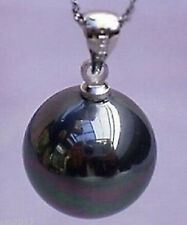 """New 14mm Beautiful Black shell Pearl Pendant Necklace 17"""""""