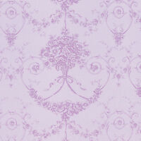 "Cotton 100% Satin weave Fabric Bedding Covering Antique Dandy Damask Purple 44""w"