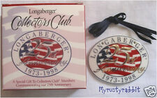 Longaberger 25th Anniversary Collectors Club Tie-On ~ CC - NEW