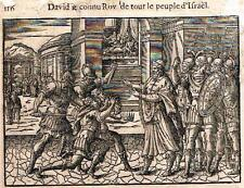 "Leclerc's Bible Figures - Woodcut - ""DAVID LE CONNU ROY DE LE PEUPLE"" -1614"