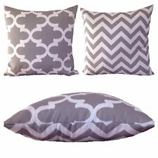 45x45cm Indoor/Outdoor Grey/White Moroccan/Chevron Cushion Cover