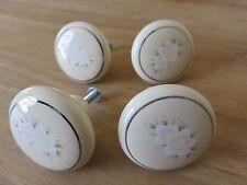 Lot of 4 Vintage Light Beige Floral Porcelain Knobs Drawer Pull Cabinet